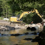 Construction work on river bank