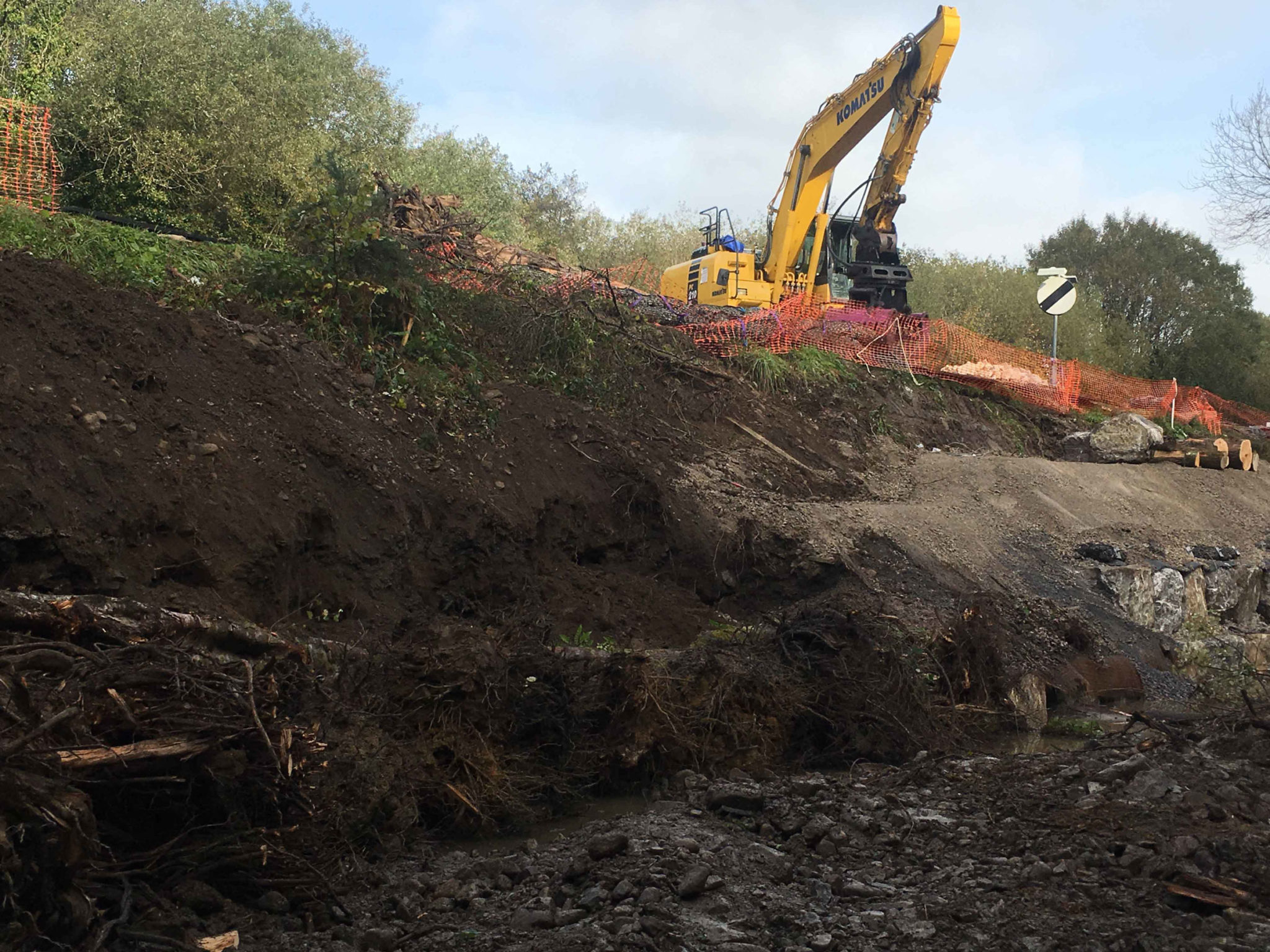 Works were required to control erosion and prevent damage to critical highway infrastructure.